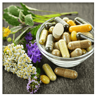 beautiful arrangement of supplements and herbs