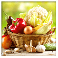 Beautiful basket of vegetables and fruits